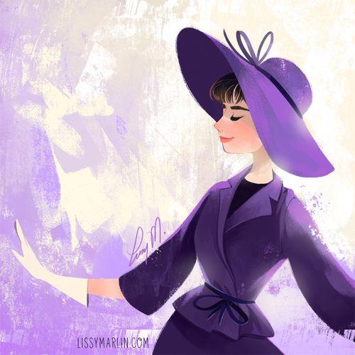 Audrey Hepburn Week by Lissy Marlin- Purple