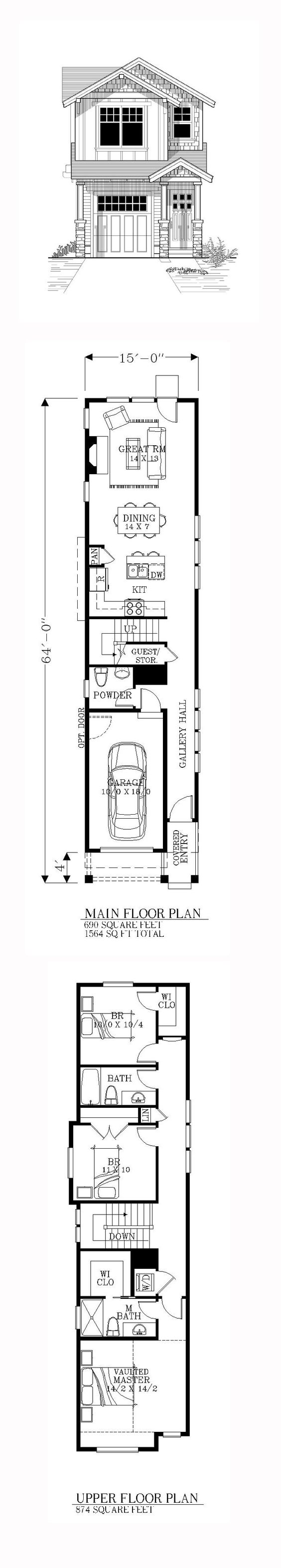 Narrow Lot House Plan 46245 | Total Living Area: 1564 sq. ft., 3 bedrooms and 2.5 bathrooms. Copyright by designer. #narrowlothome