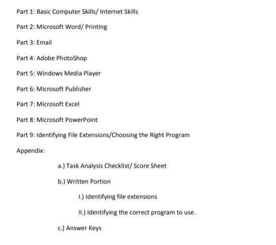 Basic Computer Skills Sgo Assessment Task Analysis Checklist Task Analysis Computer Skills Internet Skills