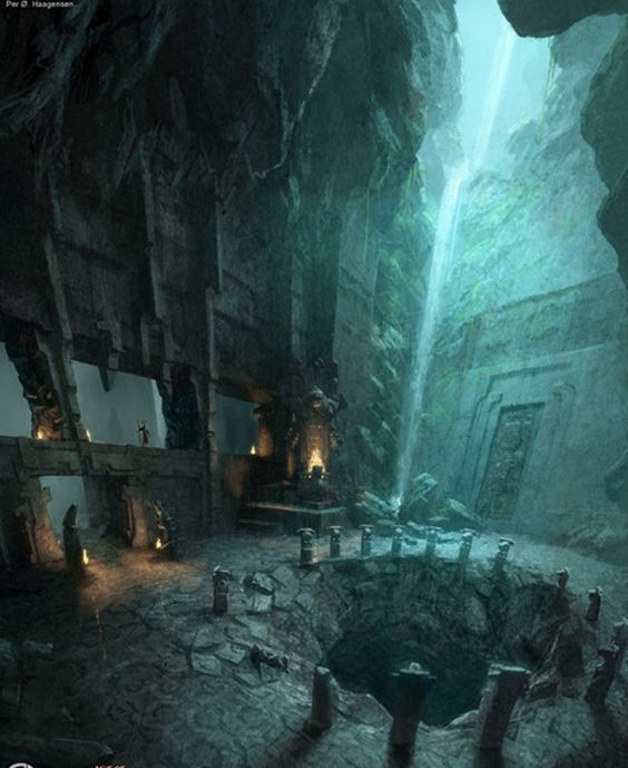 In a great cavern, the heroes of the Night Watch found a deep well near a waterfall.  This would take them beneath the Godfinger Andal ruins and into the Deep Roads.  This would be their best chance to find the old dwarven armory ruins of Hirol Hall.