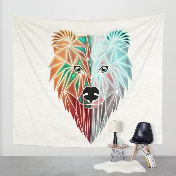 wall tapestry bear season two faces polar geoemtric shape triangle