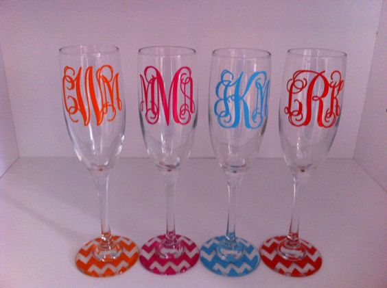 set of 4 monogrammed FLUTES with CHEVRON base by monogramsandmore2, $40.00