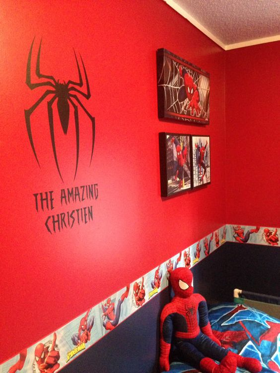 "These personalized Superhero decals are the perfect accent to any room! The Spider decal is approx.. 11"" tall by 8"" wide. Name will vary"