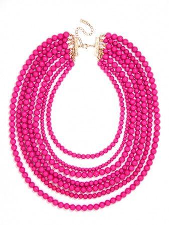 Fuchsia Multi-Strand Beaded Necklace
