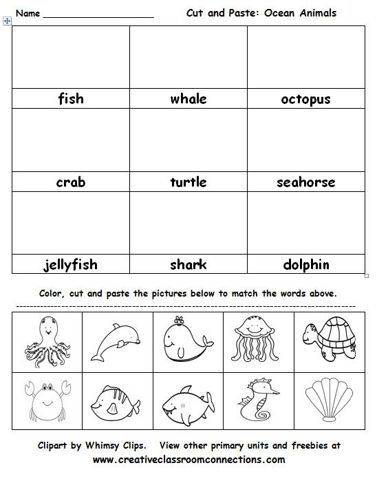 Ocean Animals cut and paste activity is great for vocabulary practice ...