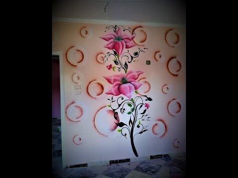 رسمه جنب ثري دي ورده على دوائر 3d Youtube Wall Paint Designs Paint Designs Wall Design