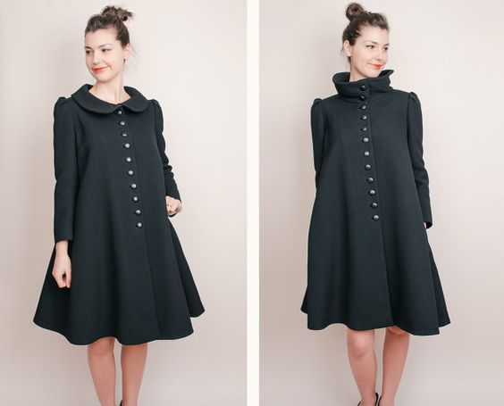 Vintage Black Wool Swing Coat - High Collar and Puff Sleeves - S