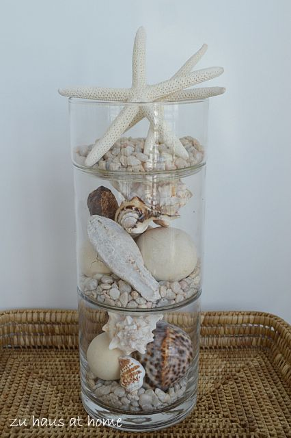 Seashells stacked in glass.  Simple but I love it...