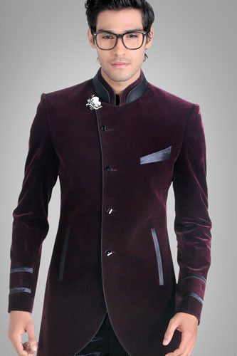 Men Designer Wedding Groom Indowestern Velvet Dinner Casual Coat
