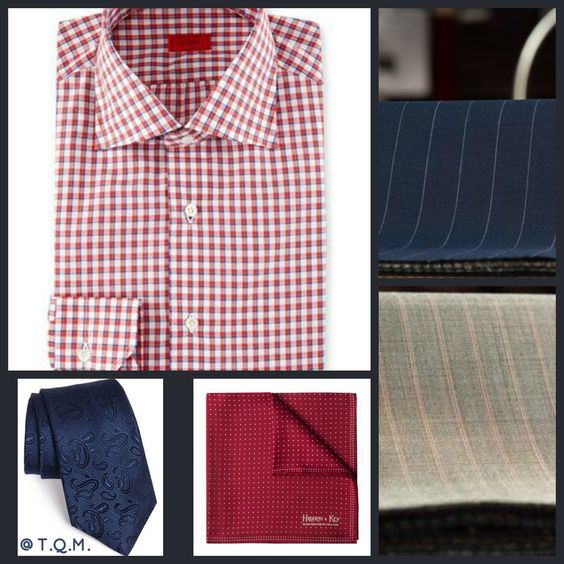 SHIRT/TIE COMBO: Isaia(Shirt)-Michael Kors(Tie)-Hilditch & Keys(Pocket Square)-Suggested Suit Colors(Blue Pinstripe & Beige Red Pinstripe)-Suit Colors On Right Side.