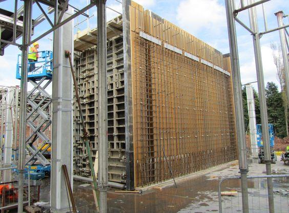 Concrete stair core under construction.