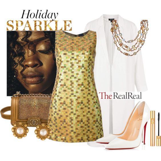 Holiday Sparkle With The RealReal: Contest Entry by kioriknight on Polyvore featuring Aspesi, Topshop, Christian Louboutin, Chanel and Yves Saint Laurent