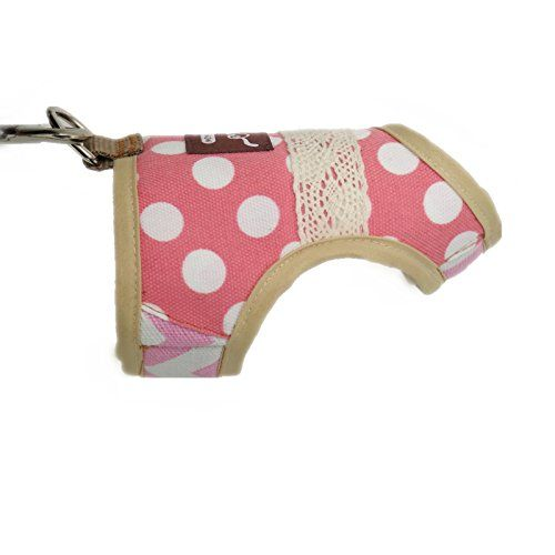 Padded Cat Vest Polka Dot Pink Yizhi Miaow Escape Proof Cat Harness with Leash Medium Adjustable Cat Walking Jackets
