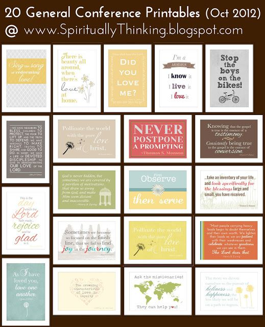 and Spiritually Speaking: General Conference Printables ...