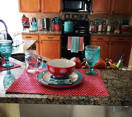 Pioneer woman inspired kitchen Turquoise and red polka dots