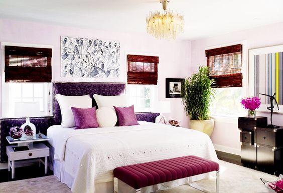 Tour the Ultimate Designer Dream Home// Campion Platt, velvet head board, vintage chandelier, chrome bench