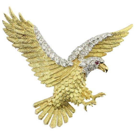Herbert Rosenthal American Bald Eagle 18K Gold Platinum Diamond Brooch Pin
