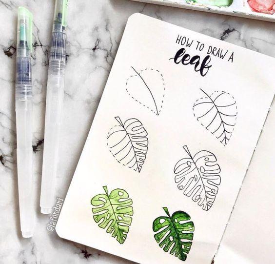4 doodles pour votre Bullet Journal avec de l'aquarelle