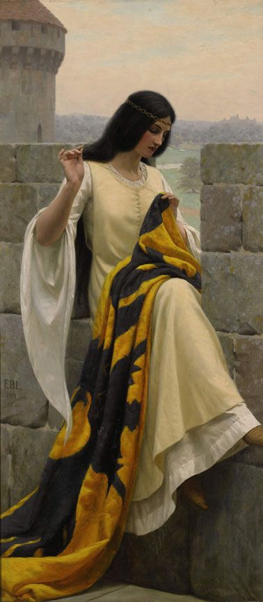 Stitching the Standard by Edmund Blair Leighton