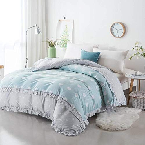 Yoioy Easy Care Duvet Cover Blue Grey Heart Shaped Pattern Quilt Cover Single Student Cotton Autumn And Winter Korean Blue Duvet Cover Quilt Cover Duvet Covers