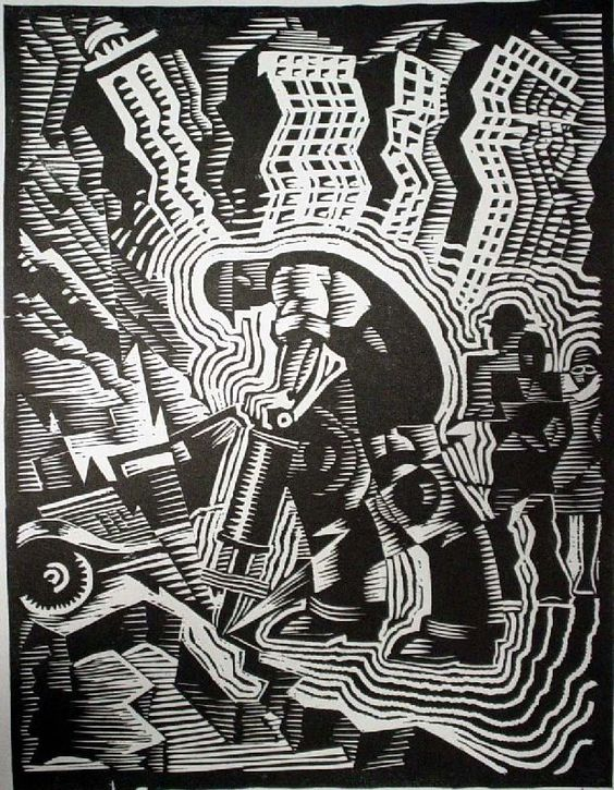 Love this art deco illustration. Ink on paper woodcut print depicting a geometric black and white image of a male using a jackhammer; figures, buildings, automobile vibrating; edition #46/50.