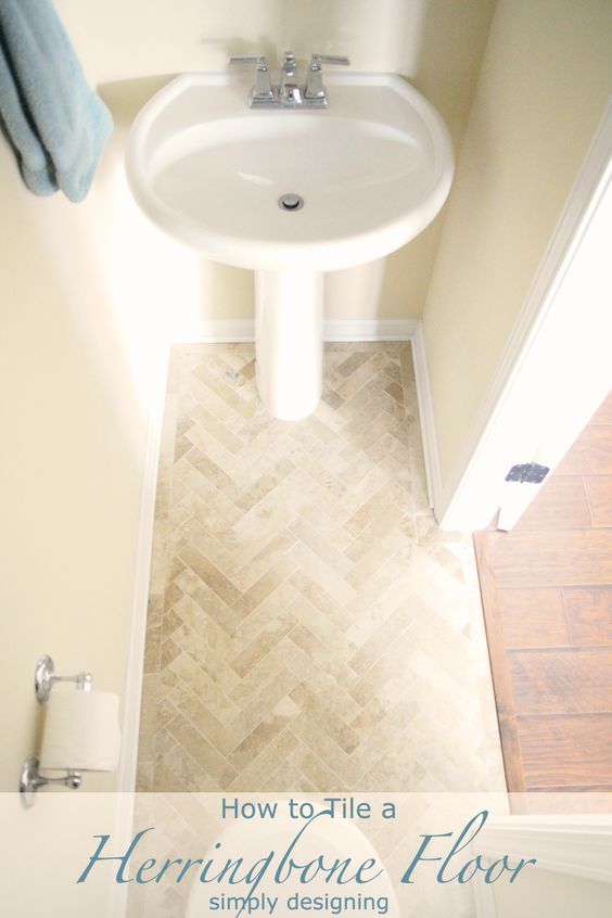 Diy tiles small half baths and travertine on pinterest for Small bathroom herringbone tile