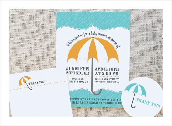 FREE printable umbrella baby shower invite, thank you note and tags!  {customize colors and text, then print}