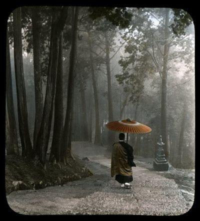 MONK DESCENDING TEMPLE STEPS — Light Breaks Through Clouds After a Morning Rain ~ T. Enami
