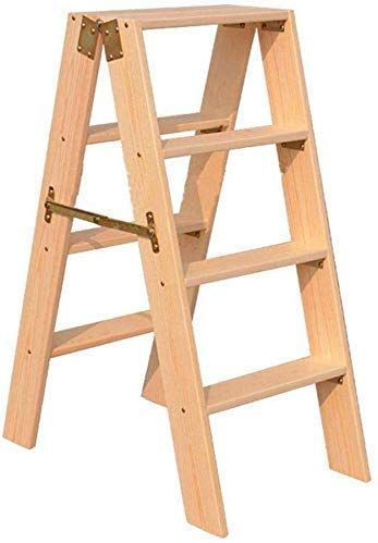 Lapdesks Ggjin Step Stool Wood Folding Solid Wood Step Stool 4 Steps Ladder Multifunction Platform Ladder Household As In 2020 Wood Step Stool Wood Steps Wooden Stairs