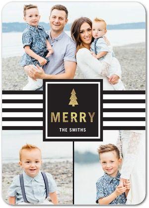 Slick Stripes - Flat Holiday Photo Cards - Sarah Hawkins Designs - Black : Front