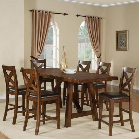 Lakeshore Table And 6 Stools In Burnished Mango