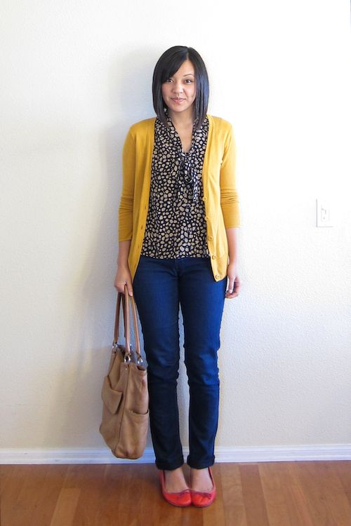 Mustard cardigan, blouse and jeans. Putting Me Together