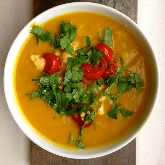 Cauliflower and Pumpkin Soup With Turmeric and Cilantro