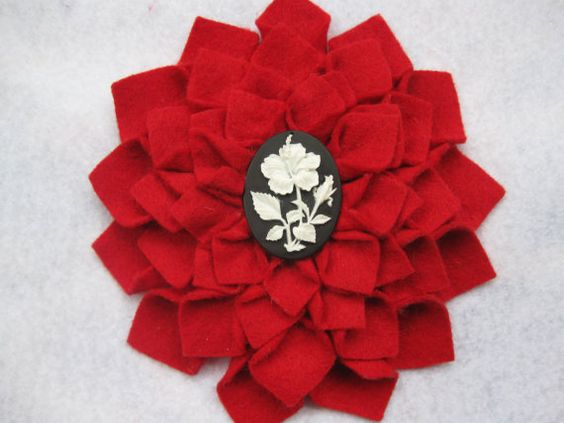 XL red felt dahlia hair flower accessory. $10 at my Etsy shop!