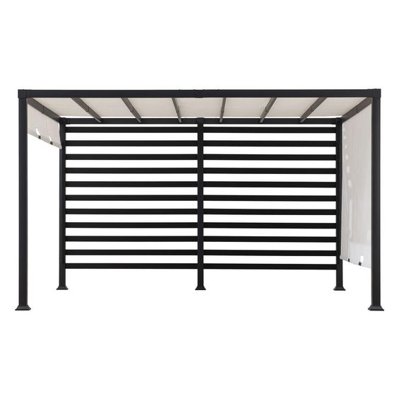 Sunjoy Sandy 12 Ft X 10 Ft Modern Steel Pergola With White Adjustable Shade Blacks In 2020 Steel Pergola Pergola Designs Pergola Canopy