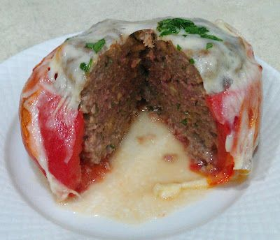Roasted Tomatoes with Stuffed Italian Meatball, Melted Provolone Curt's Guest Post