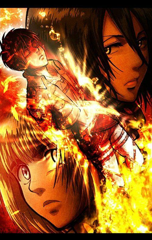 Attack On Titan Eren Mikasa And Armin Attack On Titan Eren Attack On Titan Season Attack On Titan Art