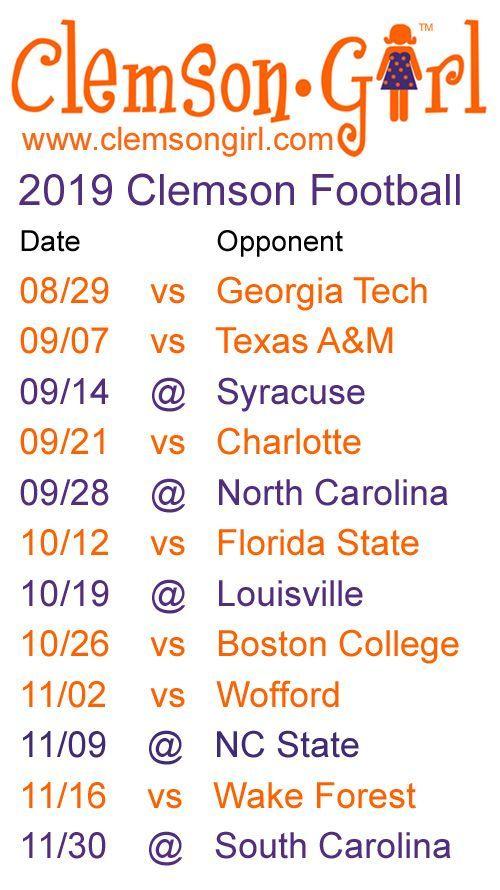 2019 Clemson Football Schedule Clemson Tigers Clemson