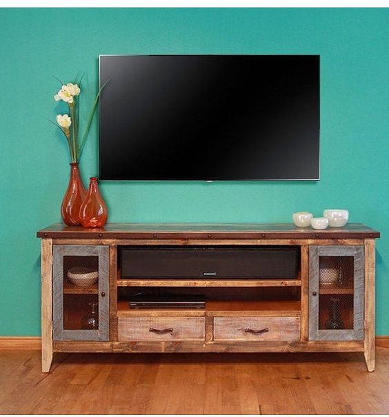 Industrial Rustic Reclaimed Wood 76 Inch Tv Stand Media