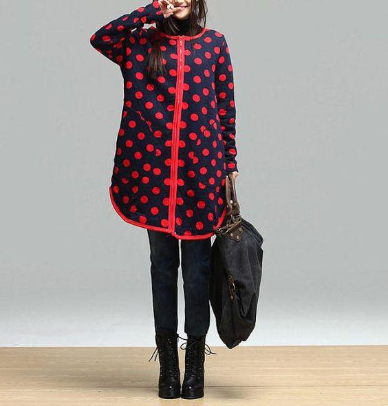 Dark blue red dot sweater plus thick velvet / van dreamyil op Etsy