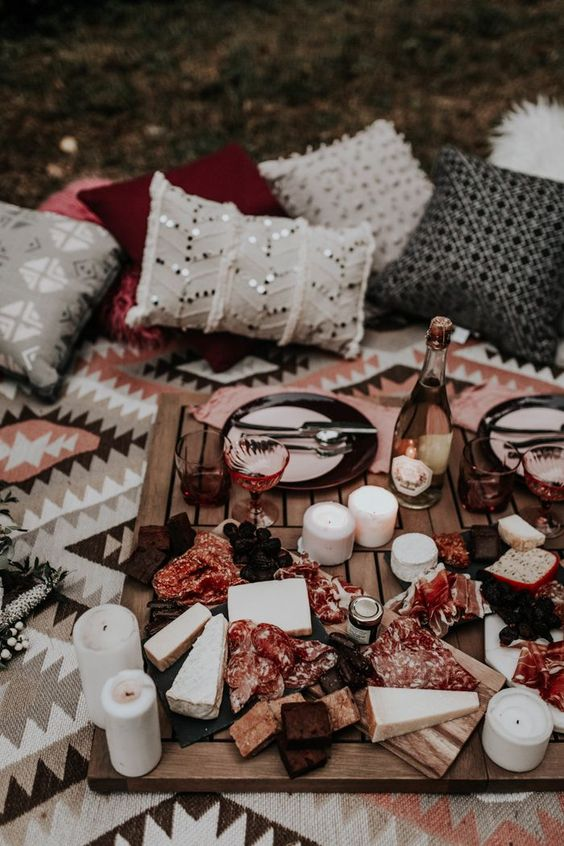 We love this rosé inspired charcuterie board for a fun and romantic elopement wedding reception   image by Kerra Leigh Photography