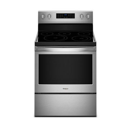 Wfe550s0hzwhirlpool 5 3 Cu Ft Whirlpool Electric Range With Frozen Bake Technology Fingerprint Resistant Stainless Steel Freestanding Electric Ranges Electric Range Self Cleaning Ovens