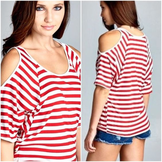 4536a59741b08 Cold shoulder tops Red   white striped cold shoulder tops ready for the change  of