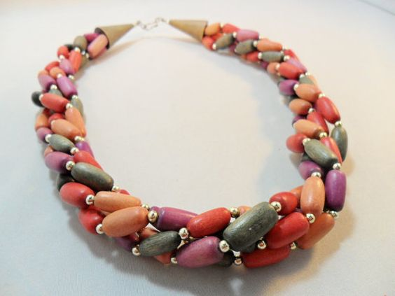 Vintage Necklace / Collar / Choker Red / Orange / by KathiJanes
