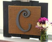 Wooden letter plaque hand crafted from reclaimed wood with burlap.