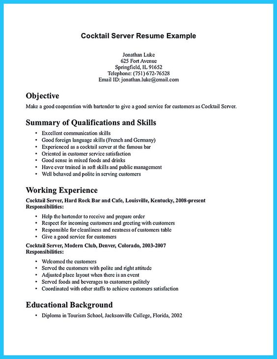 Job Description Example Bartender Sample Customer Service Resume Bartenders  Resume Bartender Manager Resume Skills Bartender Server