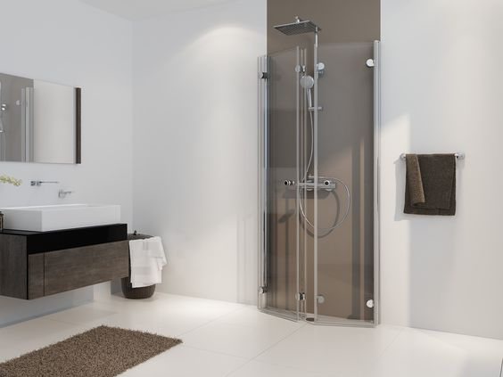 Freistehende Dusche Faltt?r : Drehfaltt?r Duschkabine U-Form ab 70 x 70 x 220 cm Echtglas ESG klar