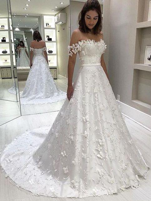 Lace Wedding Dresses Half Sleeve A Line Satin Custom Plus Size Bridal Gowns