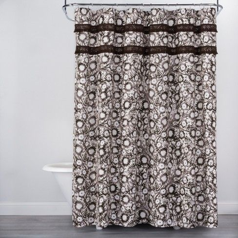 Botanical Print With Fringe Shower Curtain Brown White Opalhouse