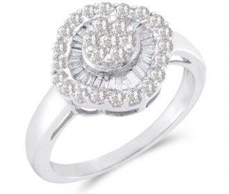Right Hand Diamond Ring 14k White Gold Anniversary Cluster (3/4 Carat) #Diamond #wedding #Engagement #Band #fashion #Jewelry jeweltie.com